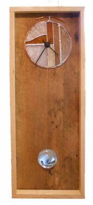 """Danish Rustic style clock 2 Birch Baltic plywood, barn wood, stained glass, quartz electric movement   26"""" tall x 11.5 wide x 3"""" deep  Price $145.00"""