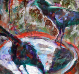 """Crows at Water acrylic on panel 20"""" x 20"""" Framed  $300"""