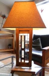 """Prairie Style Lamp 1 poplar, stained glass & lampshade,   29"""" tall x 15"""" wide x 15"""" deep  Price $350"""