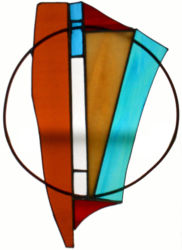 """Free Form 1 Stained glass with copper circle 12"""" x 9"""" $75"""
