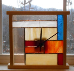 """Stained Glass Window Clock 1 Stained glass, wood, copper insert, battery powered quartz clock works 8"""" 9"""" $95"""